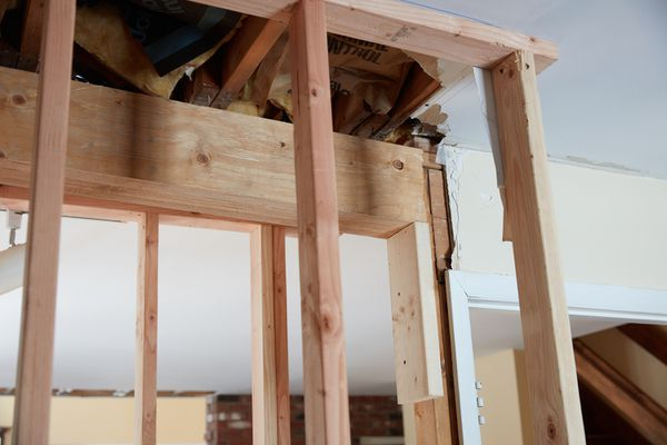 Load bearing wall structure exposed to be removed