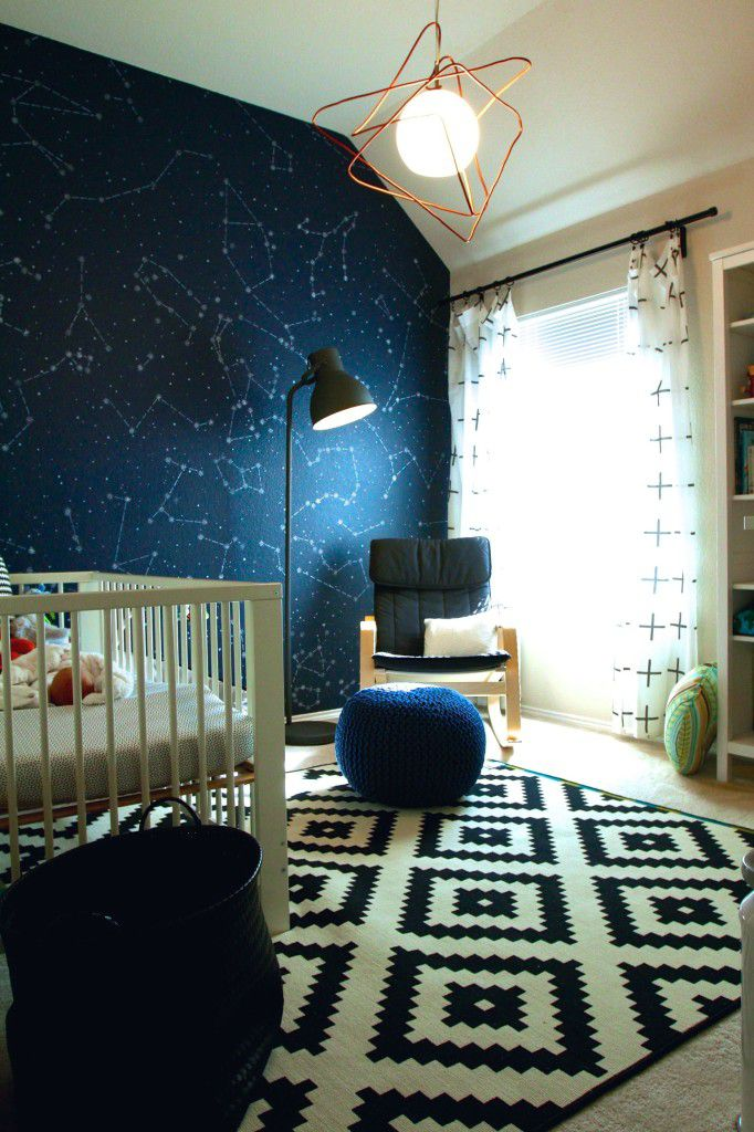 Modern space-themed nursery room