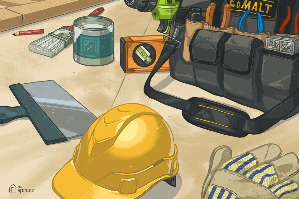 tools and a hard hat on a table