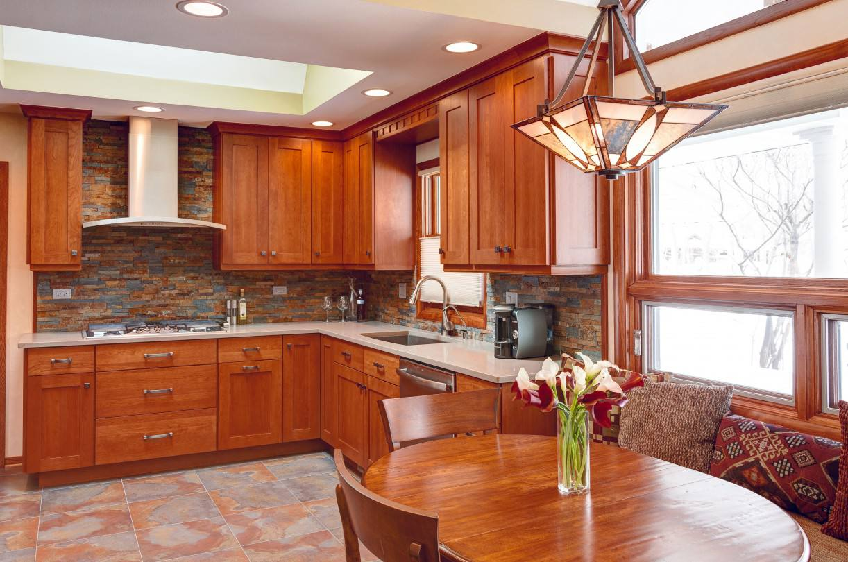Craftsman inspired kitchen with stacked stone