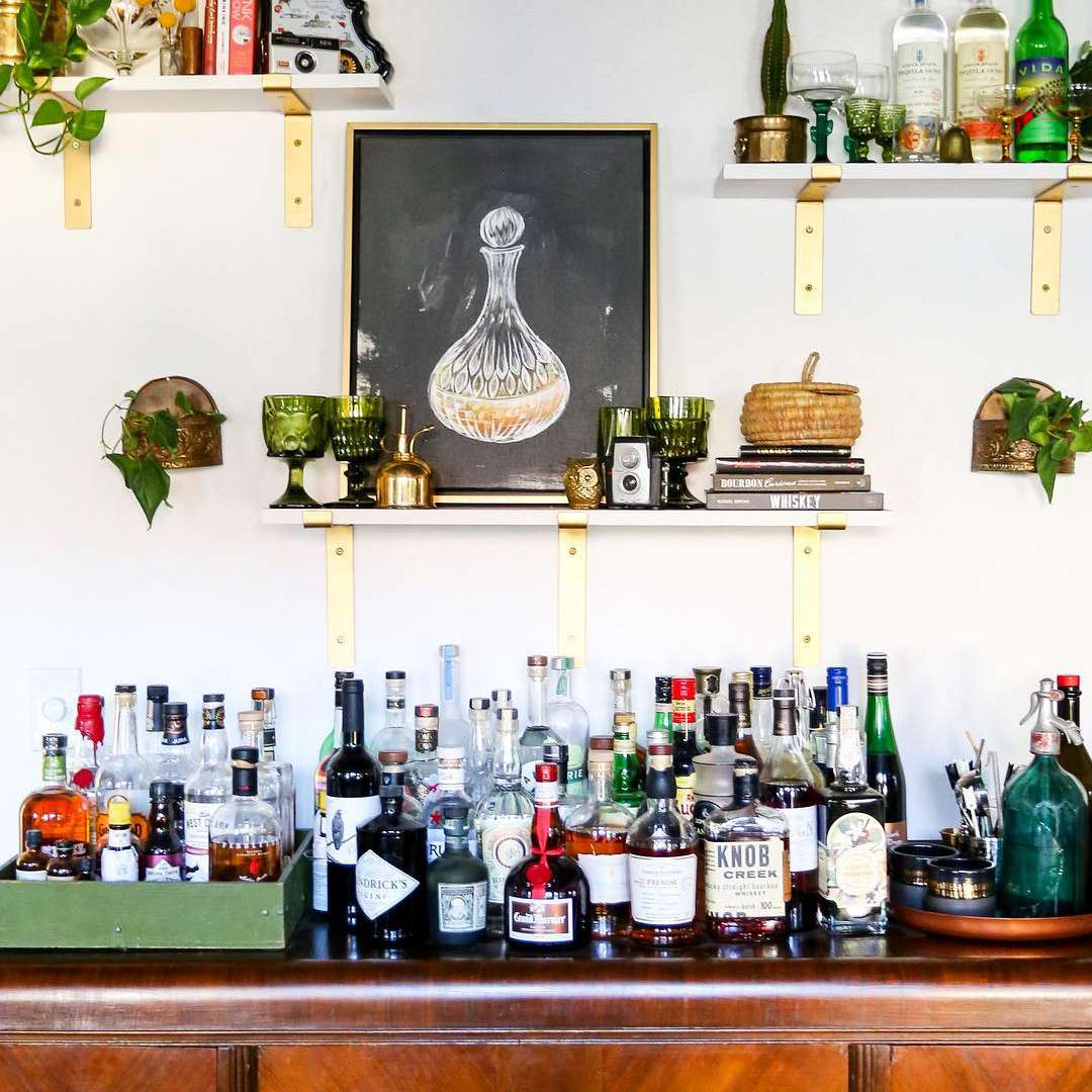Home bar with dresser and shelves