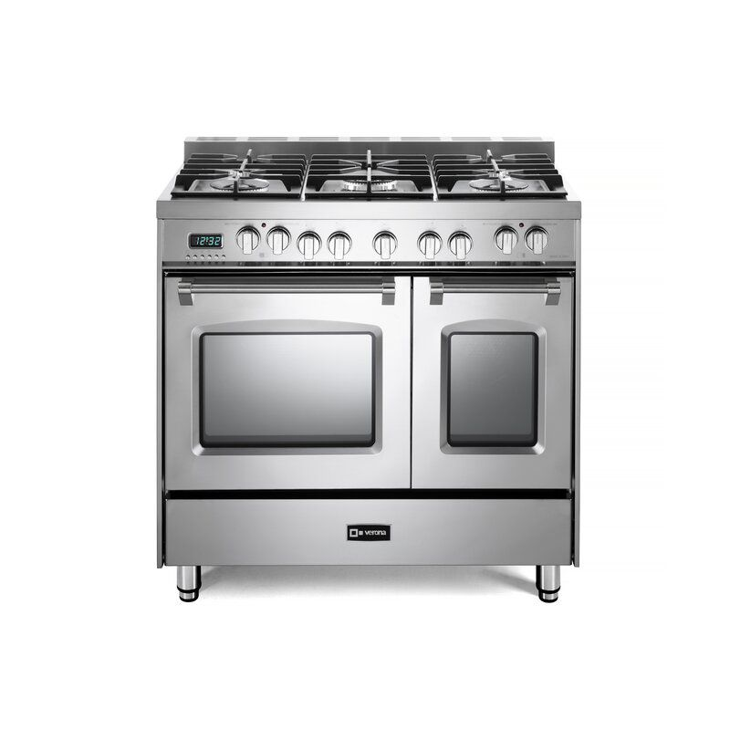 The Verona 36 in. Double Oven Freestanding Dual Fuel Range comes in a luxe stainless steel finish.