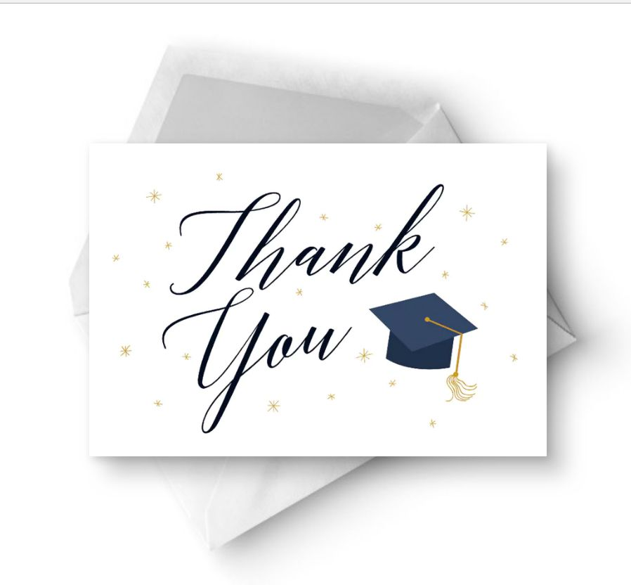 a graduation thank you card with a blue grad hat on it