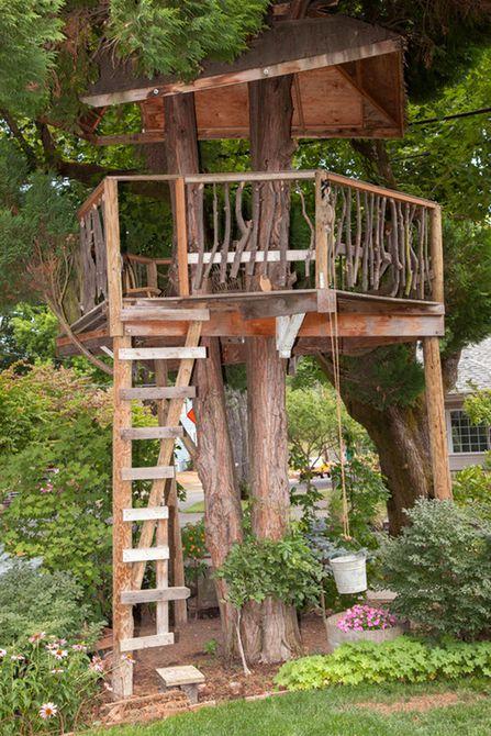 Casa en el árbol rústica y de madera natural