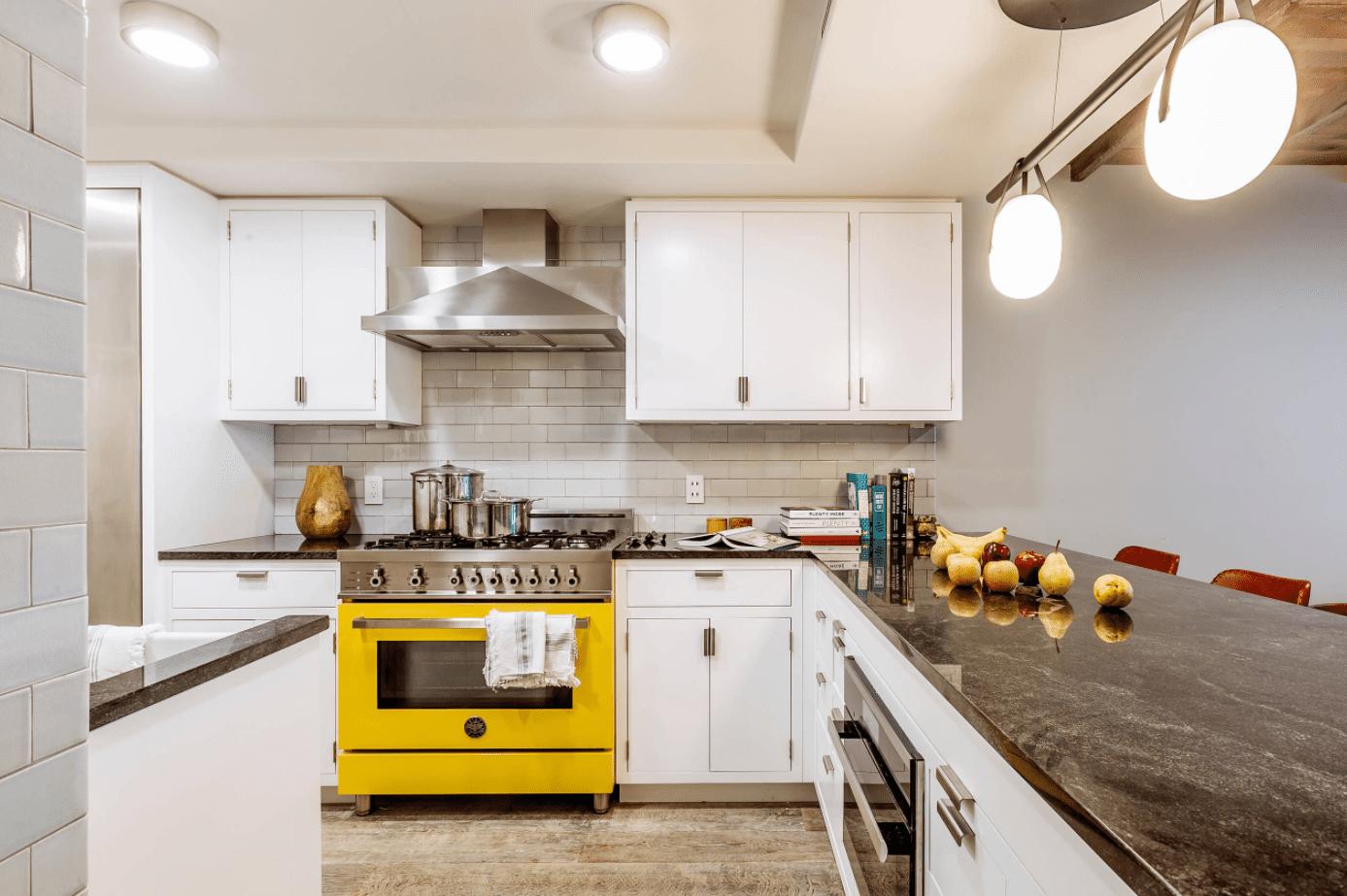 Yellow Bertazzoni kitchen range