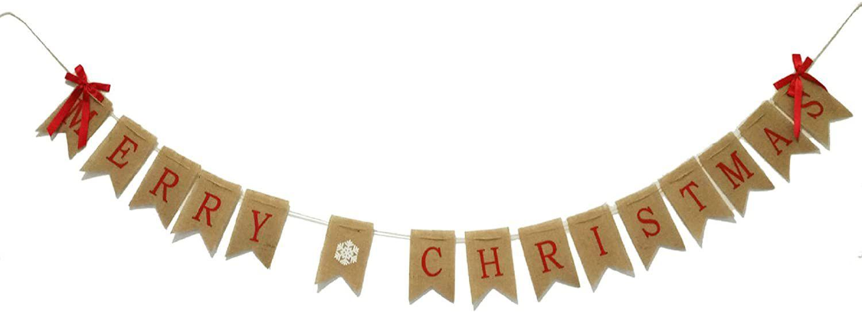 GOER Merry Christmas Burlap Garland Banner
