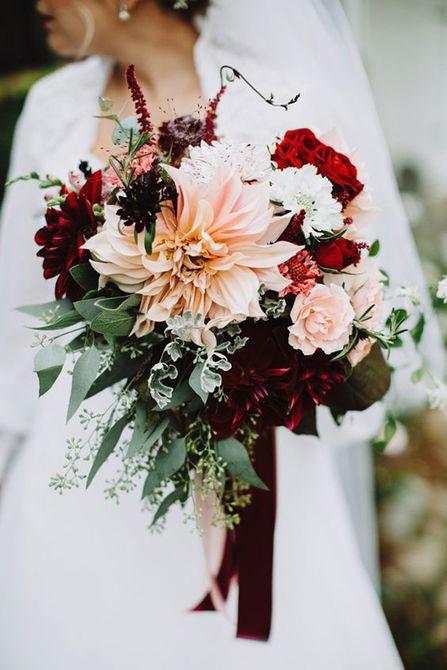 Blush and Burgundy Dahlia Bouquet