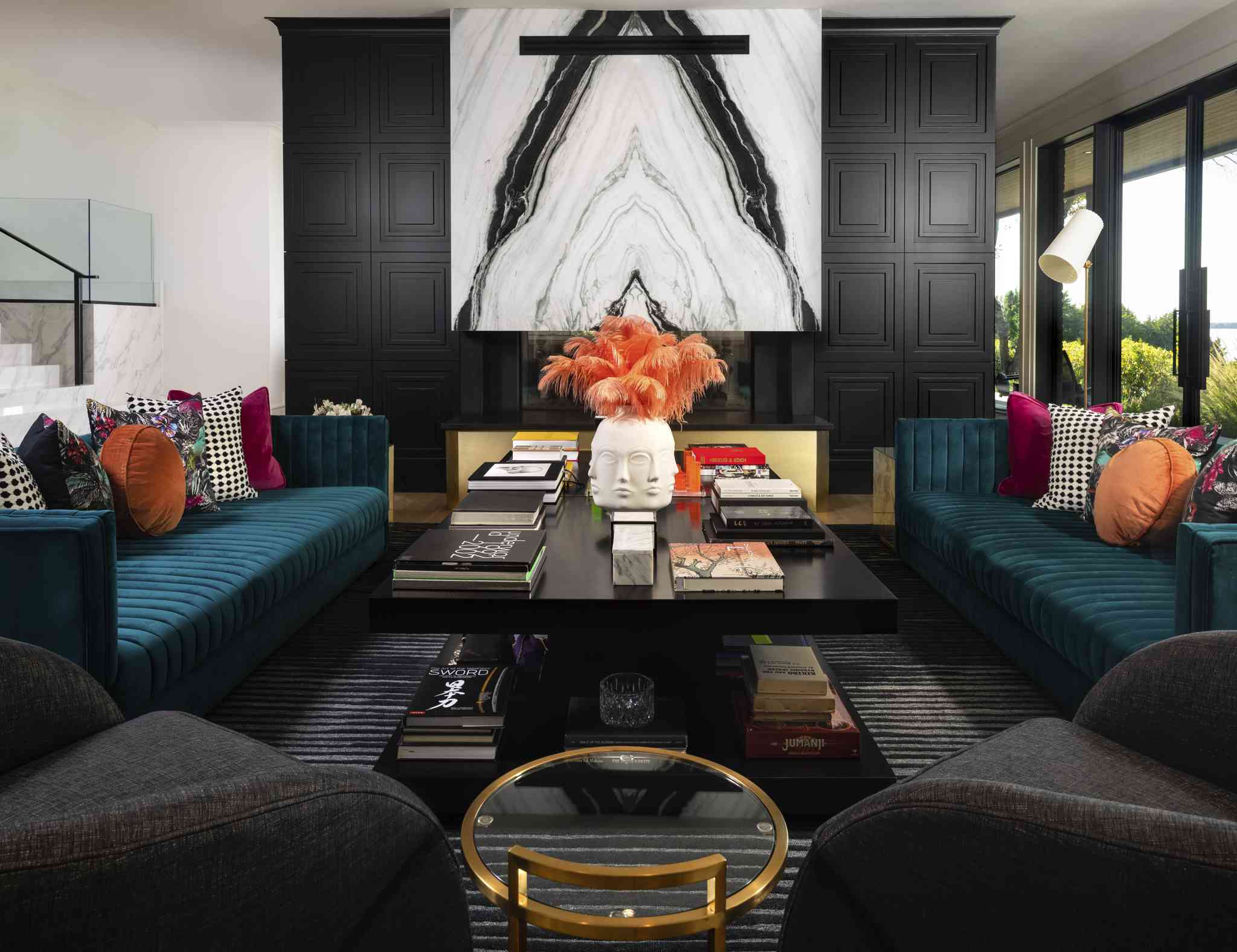 dramatic accents in black living room
