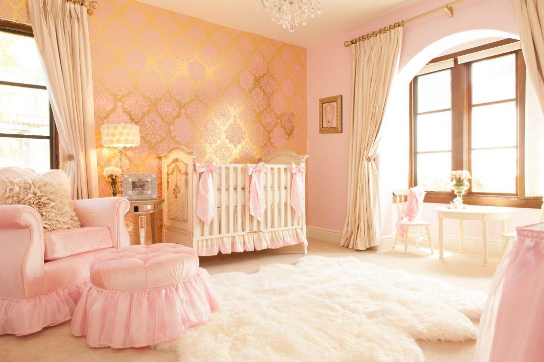 Vivero rosado y dorado glamoroso