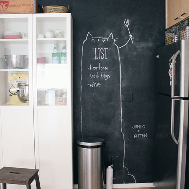 Chalkboard kitchen wall with grocery list on it