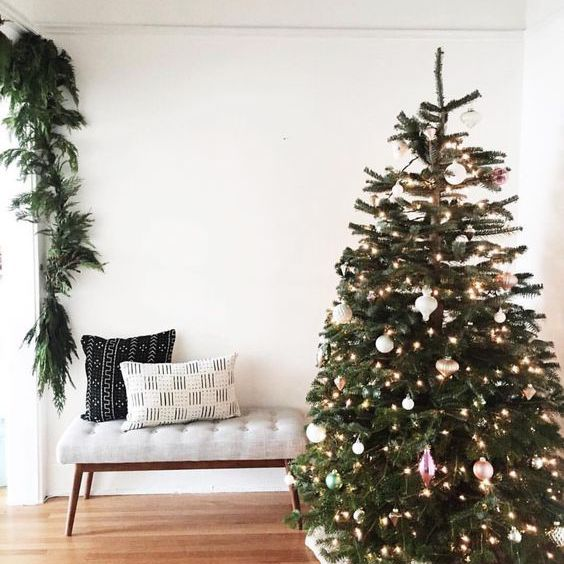 Christmas living room with global fabric patterns