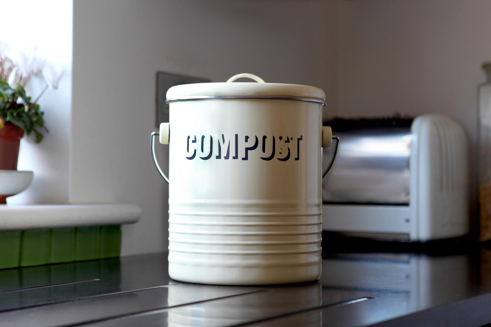 A compost bin in a kitchen