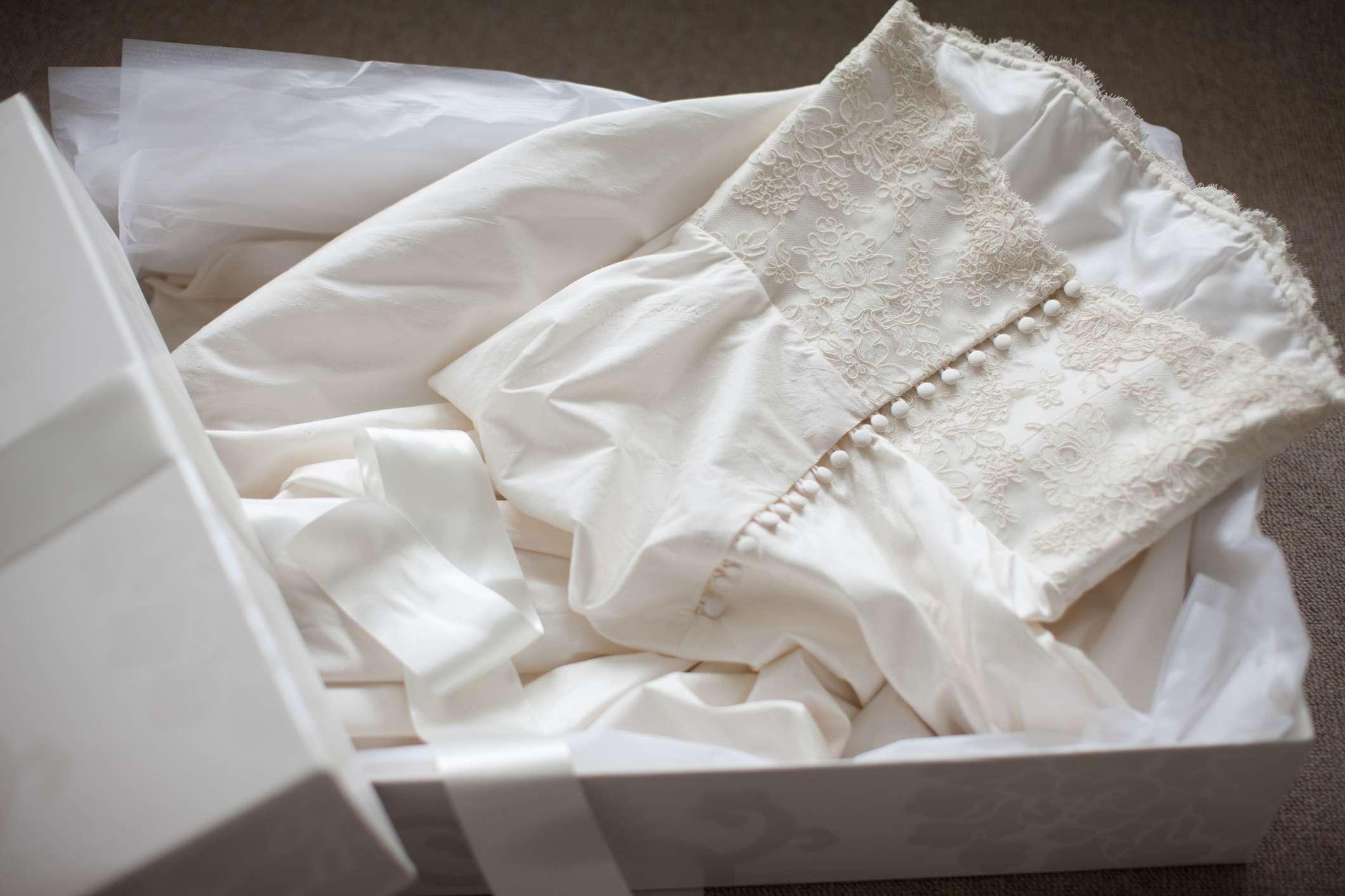 wedding dress in storage box