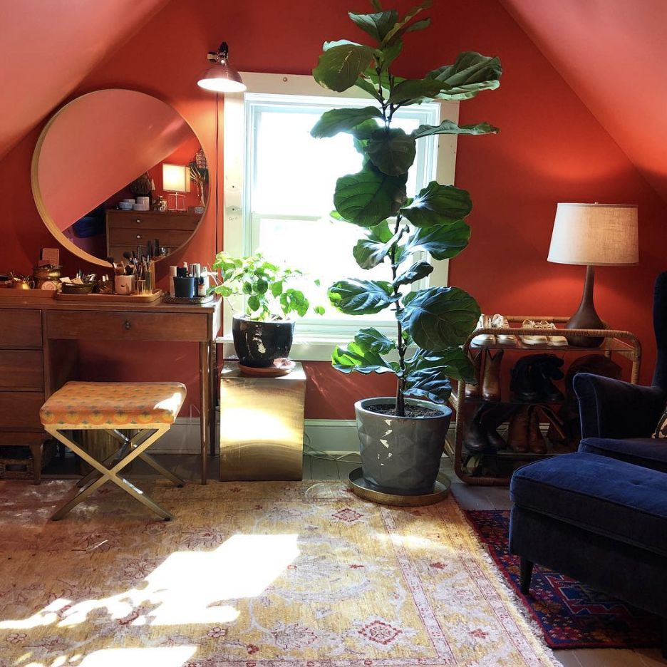 Attic room with coral paint