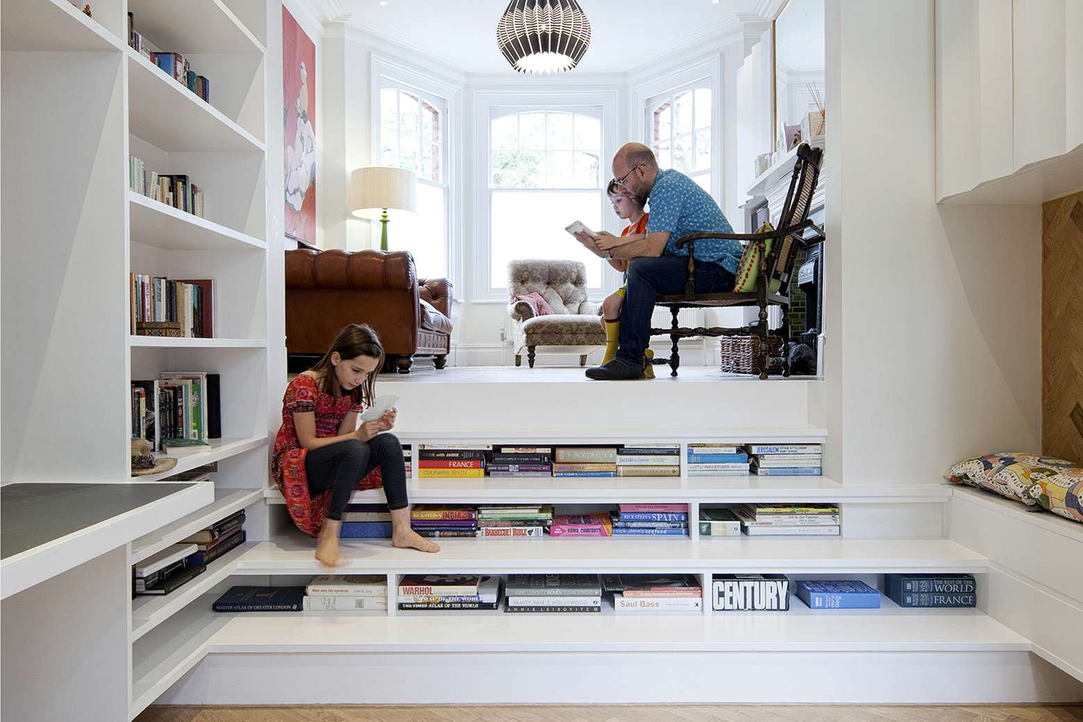 Bookcase built into steps