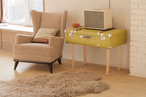 vintage suitcase used as a table