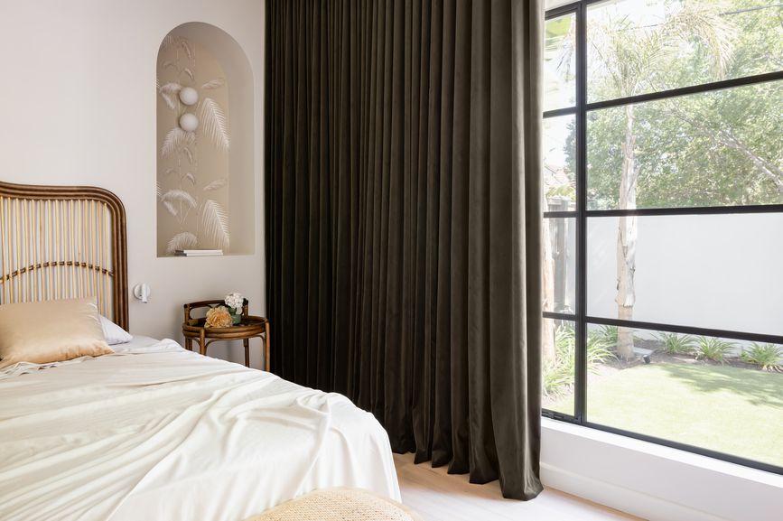 heavy drapes in a bedroom