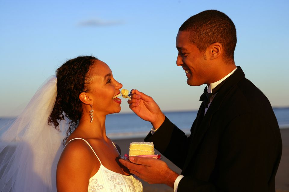 A newly married couple at Popham Beach, Maine