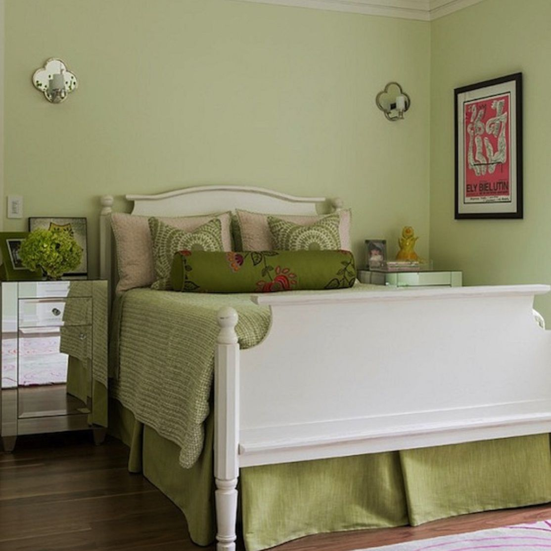 Green, white and pink girl's bedroom