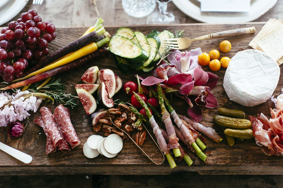 Platter of fresh antipasto food at a party