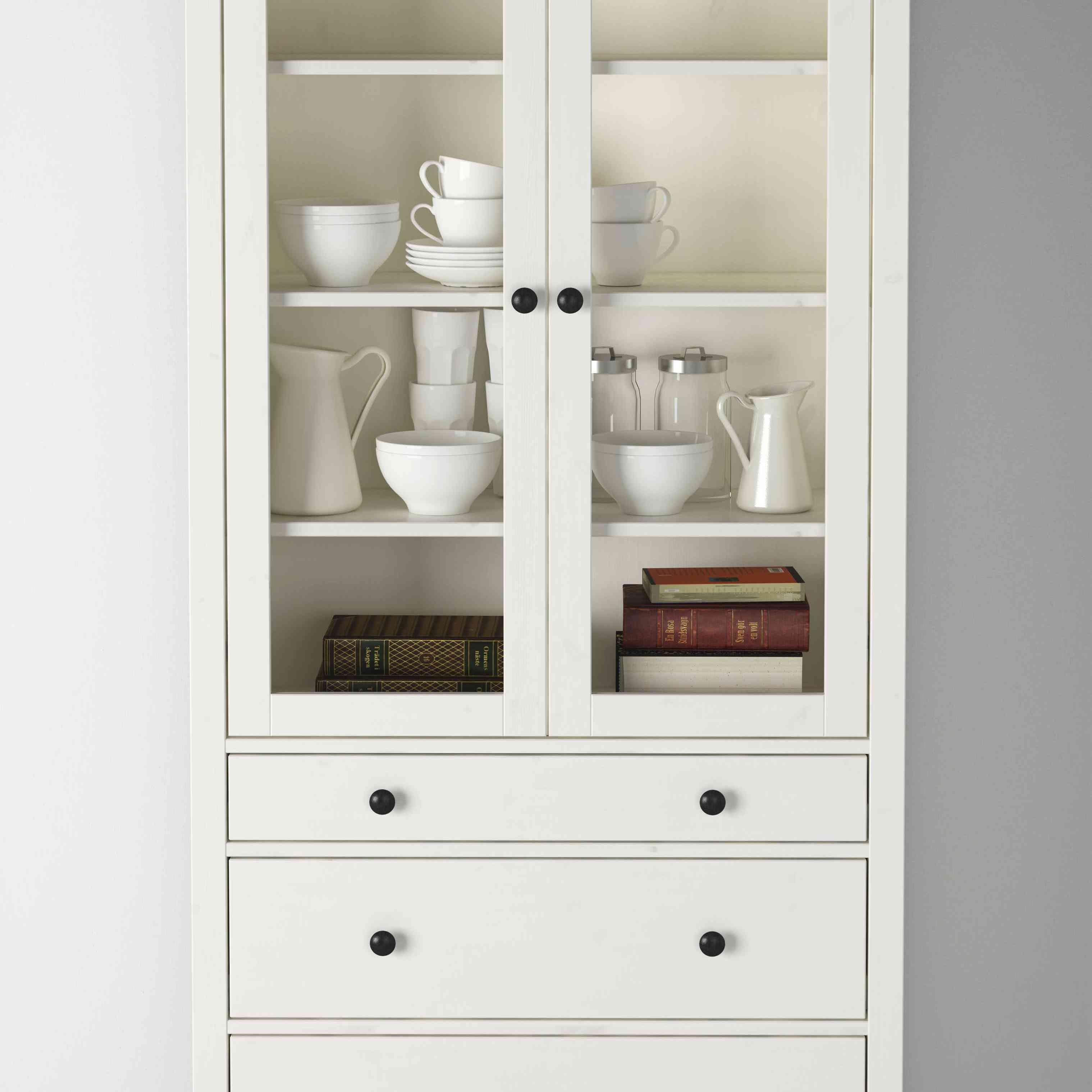 IKEA HEMNES Glass-Door Cabinet With 3 Drawers