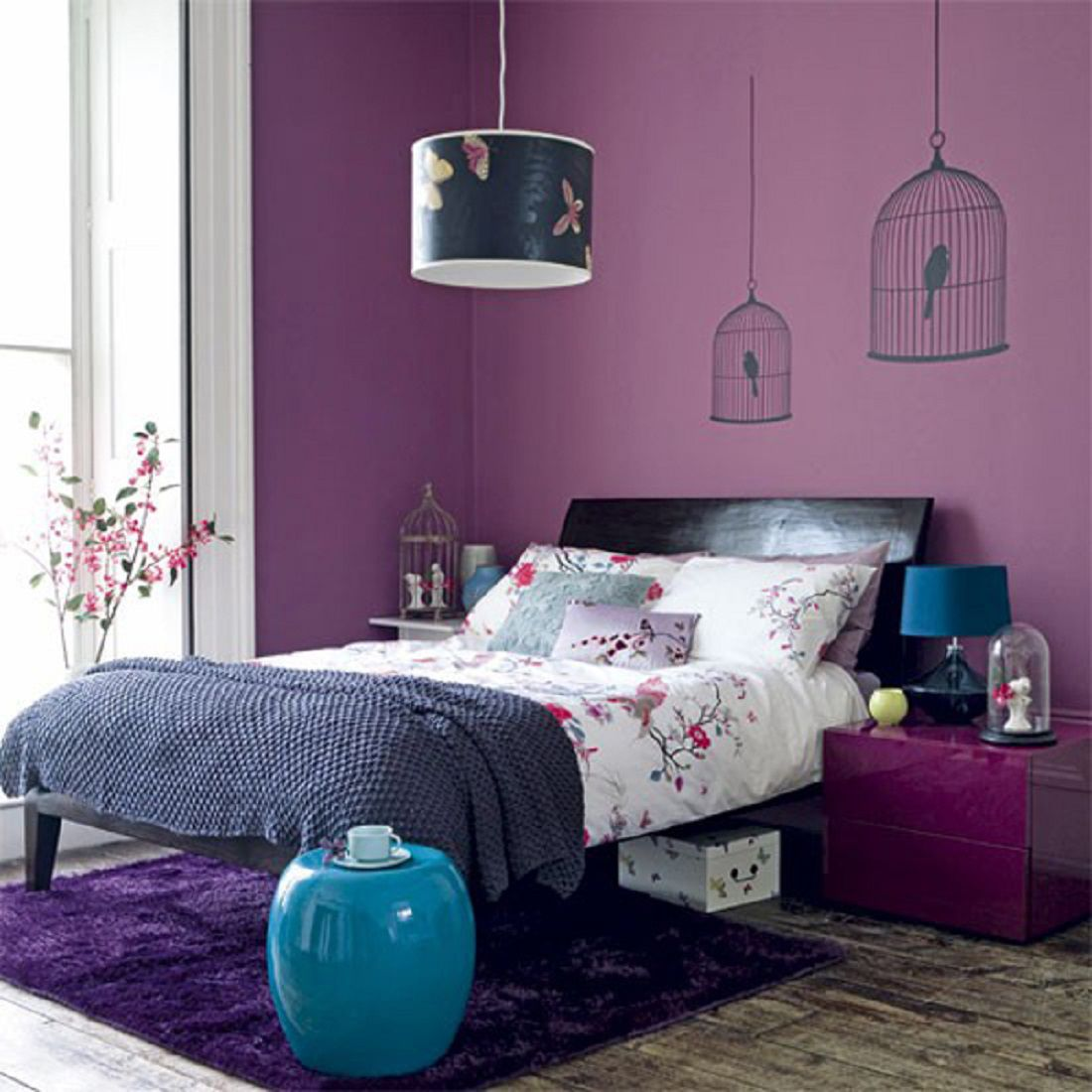 Decorating Your Bedroom with Green, Blue, and Purple