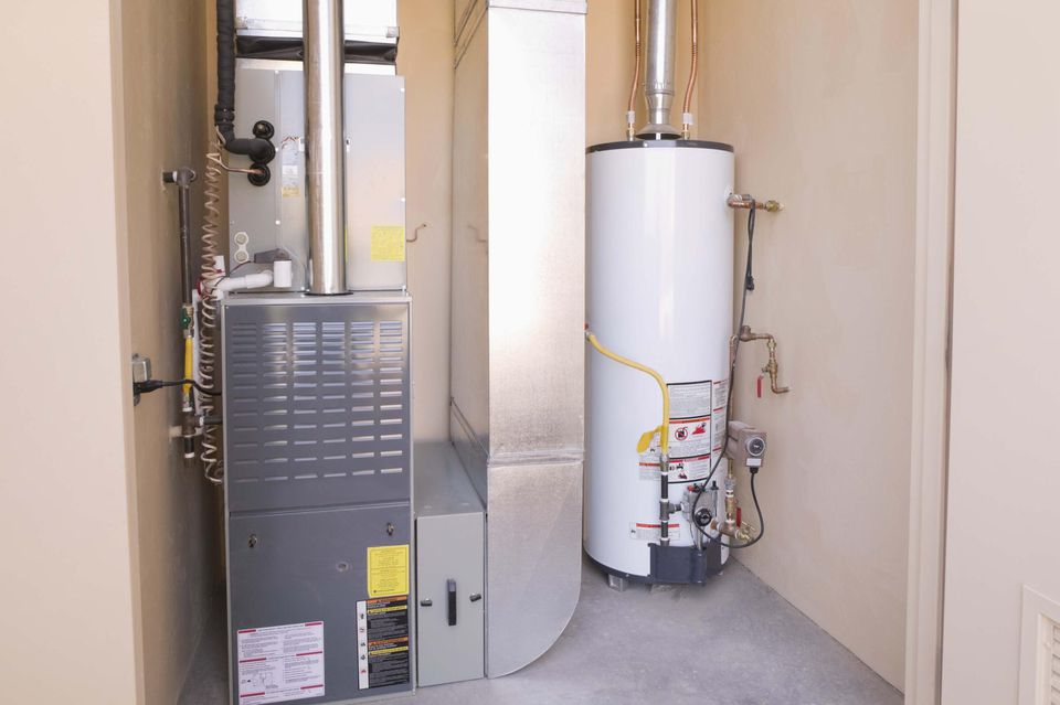 Gas water heater and furnace in basement