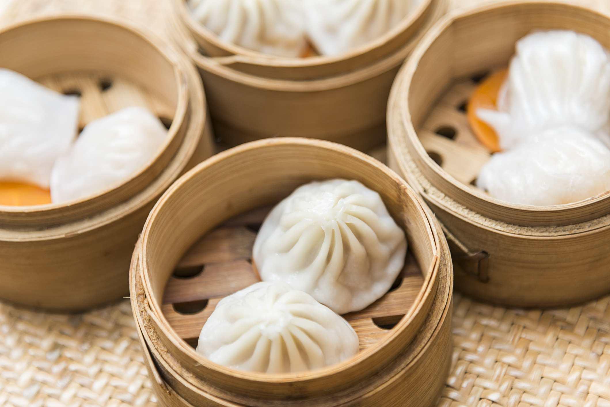 Bao buns in bamboo baskets.