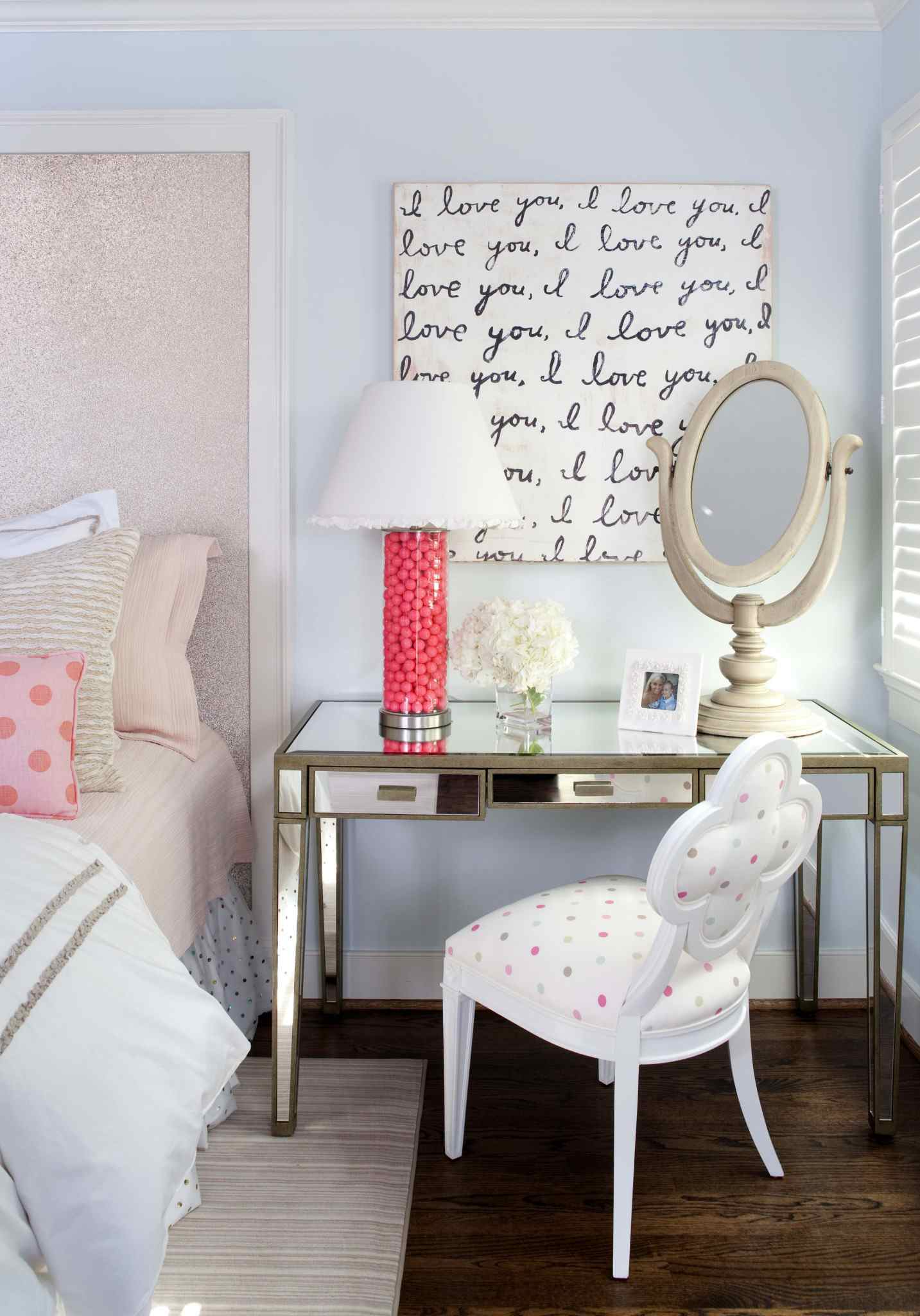 luxe mirrored desk in a child's bedroom