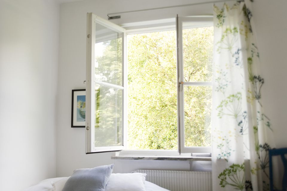 Open window in bedroom