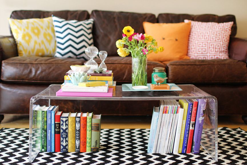 acrylic coffee table with books