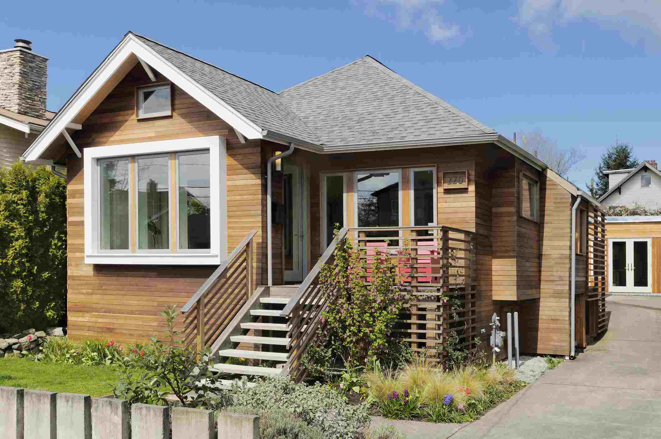 A craftsman-style home with wood siding