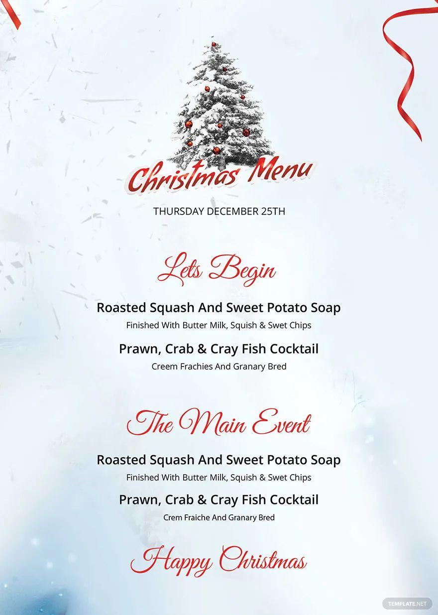 A Christmas menu with a tree on top