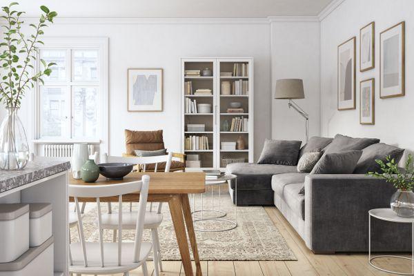 Modern scandinavian living room interior - 3d render