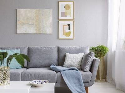 Living room with art on wall