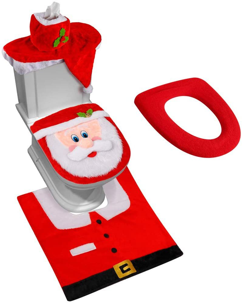 D-FantiX 3D Nose Santa Toilet Seat Cover and Rug Set