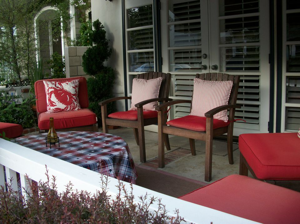 Patriotic decorations on a porch for the Fourth of July
