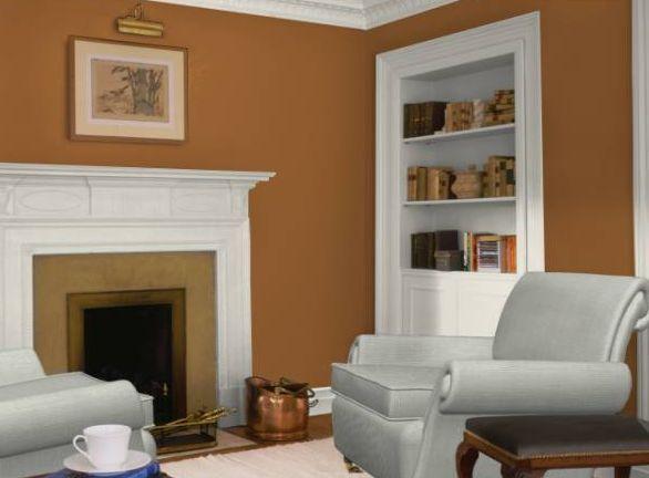 pintura de sala de estar dorada y naranja