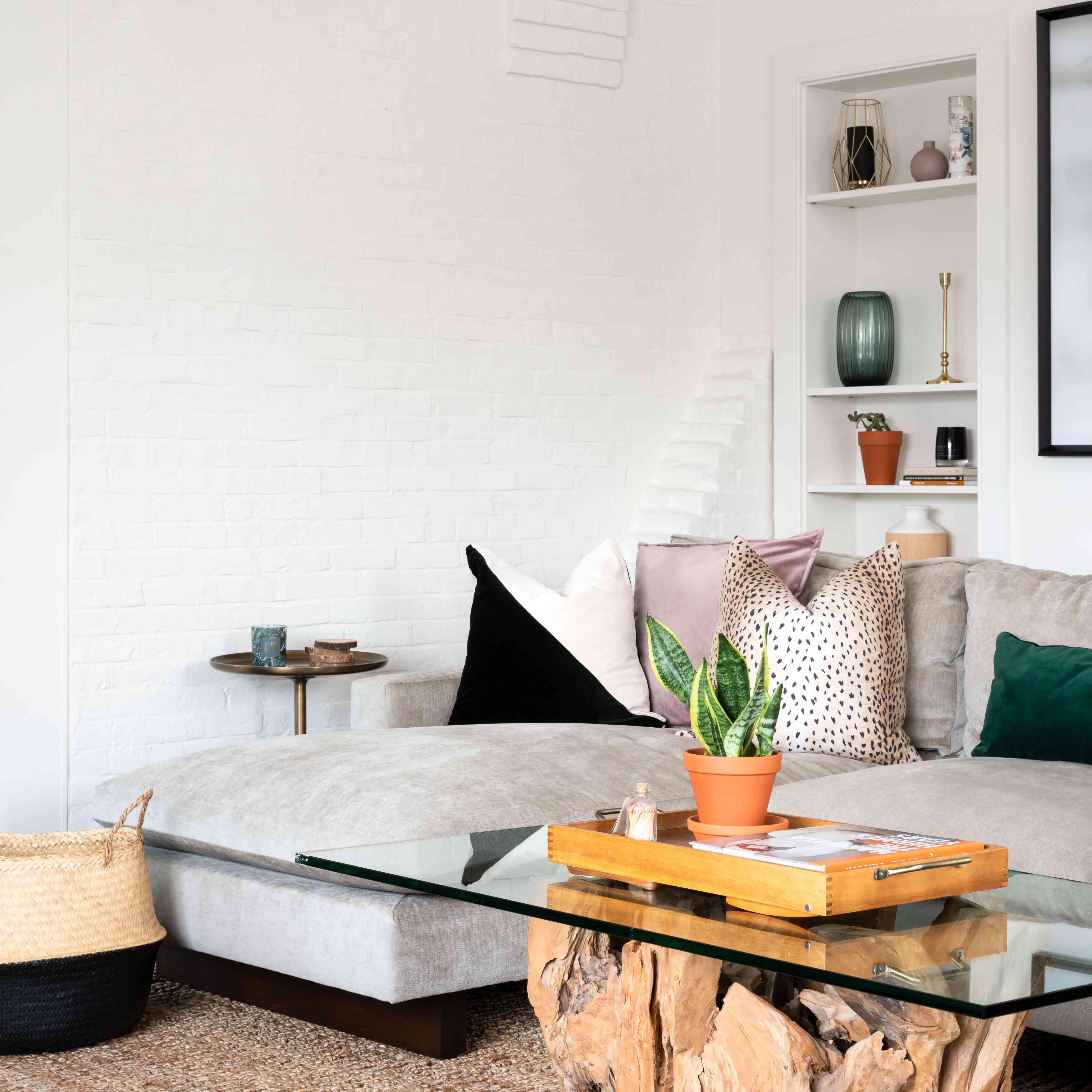 white brick living room