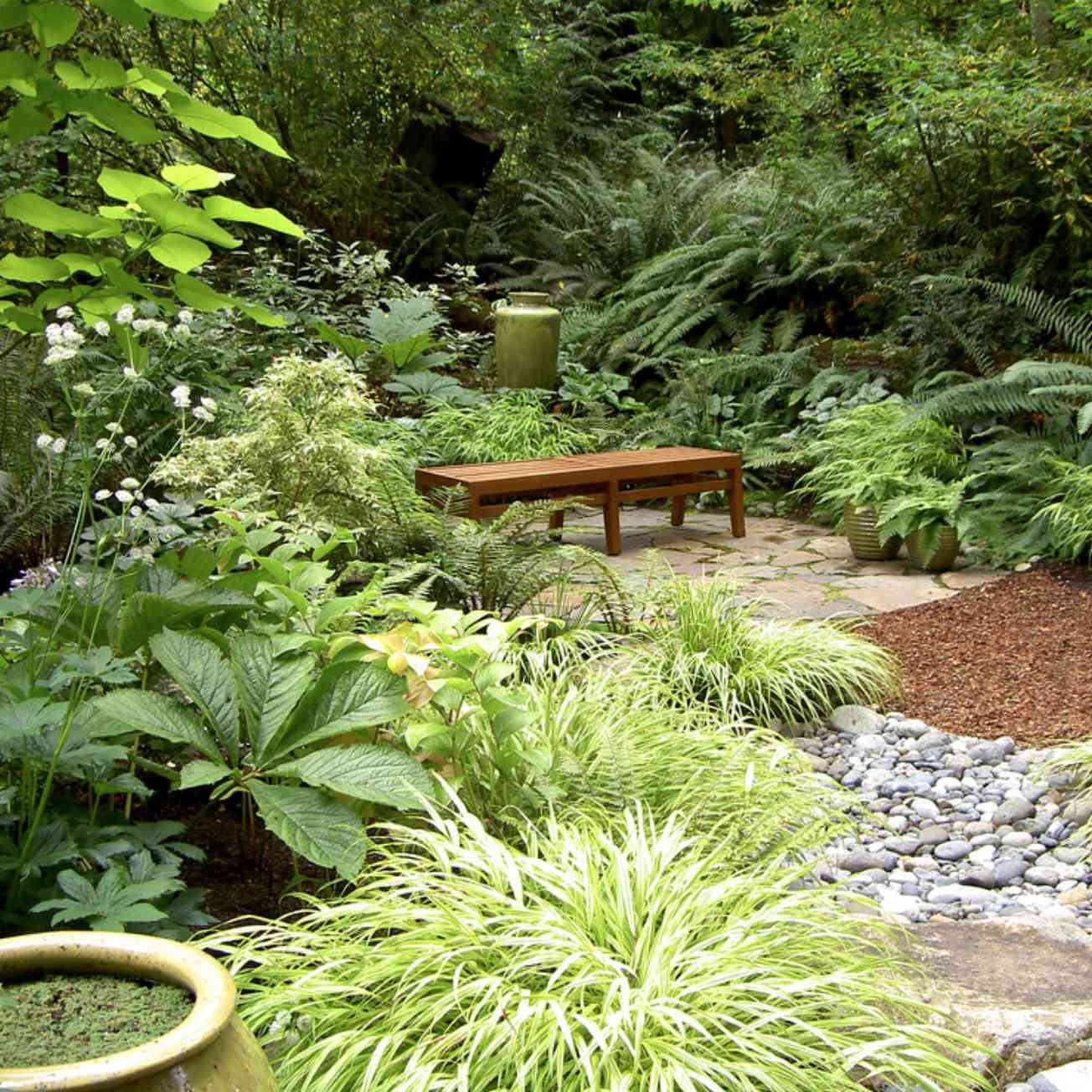 Shade garden with rocks and bench.