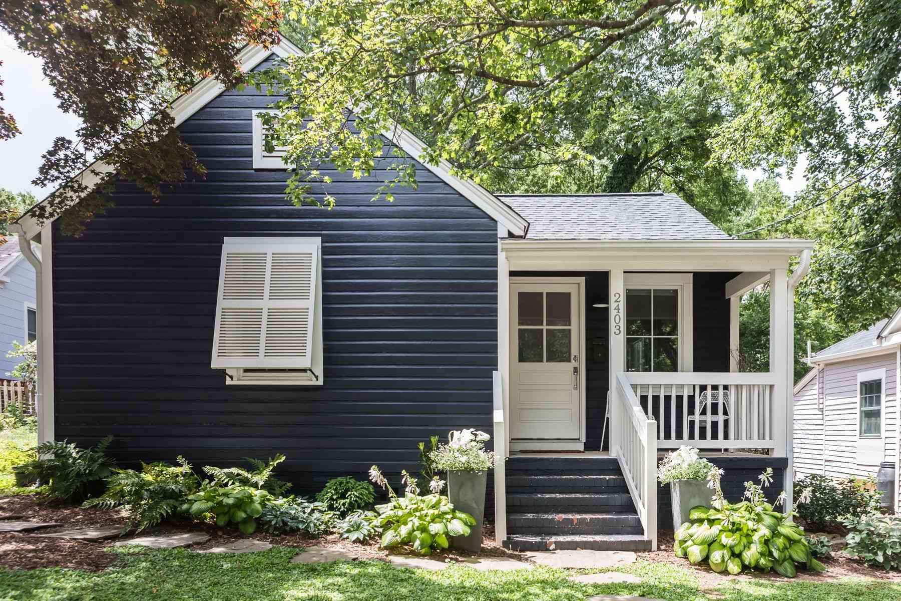 small cottage with dark paneling