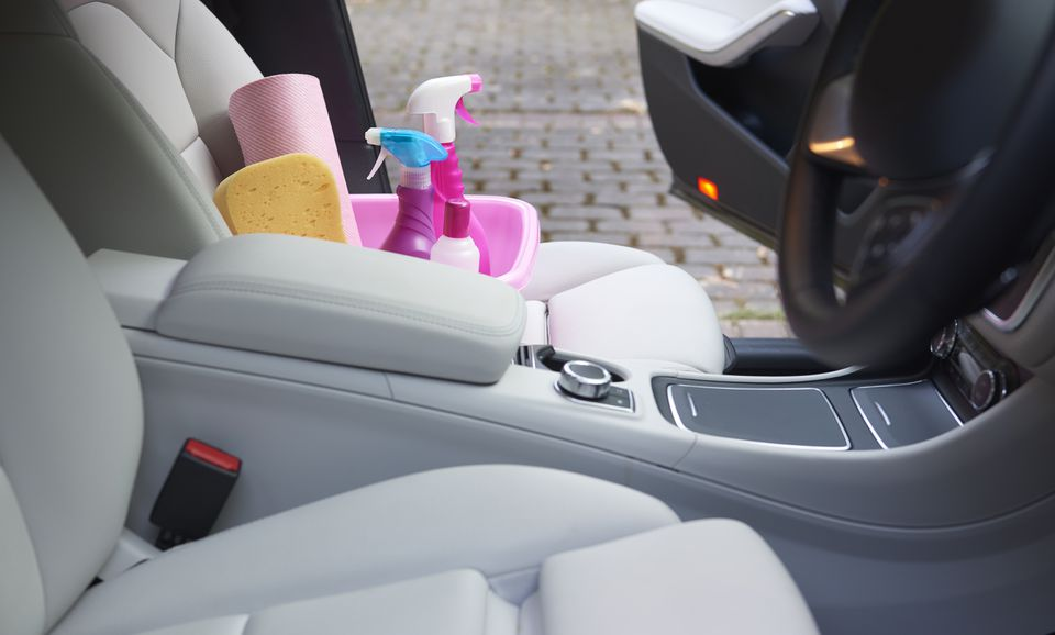 Cleaning products in seat of car