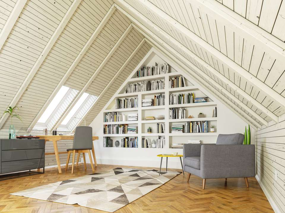 Modern simple room in the attic