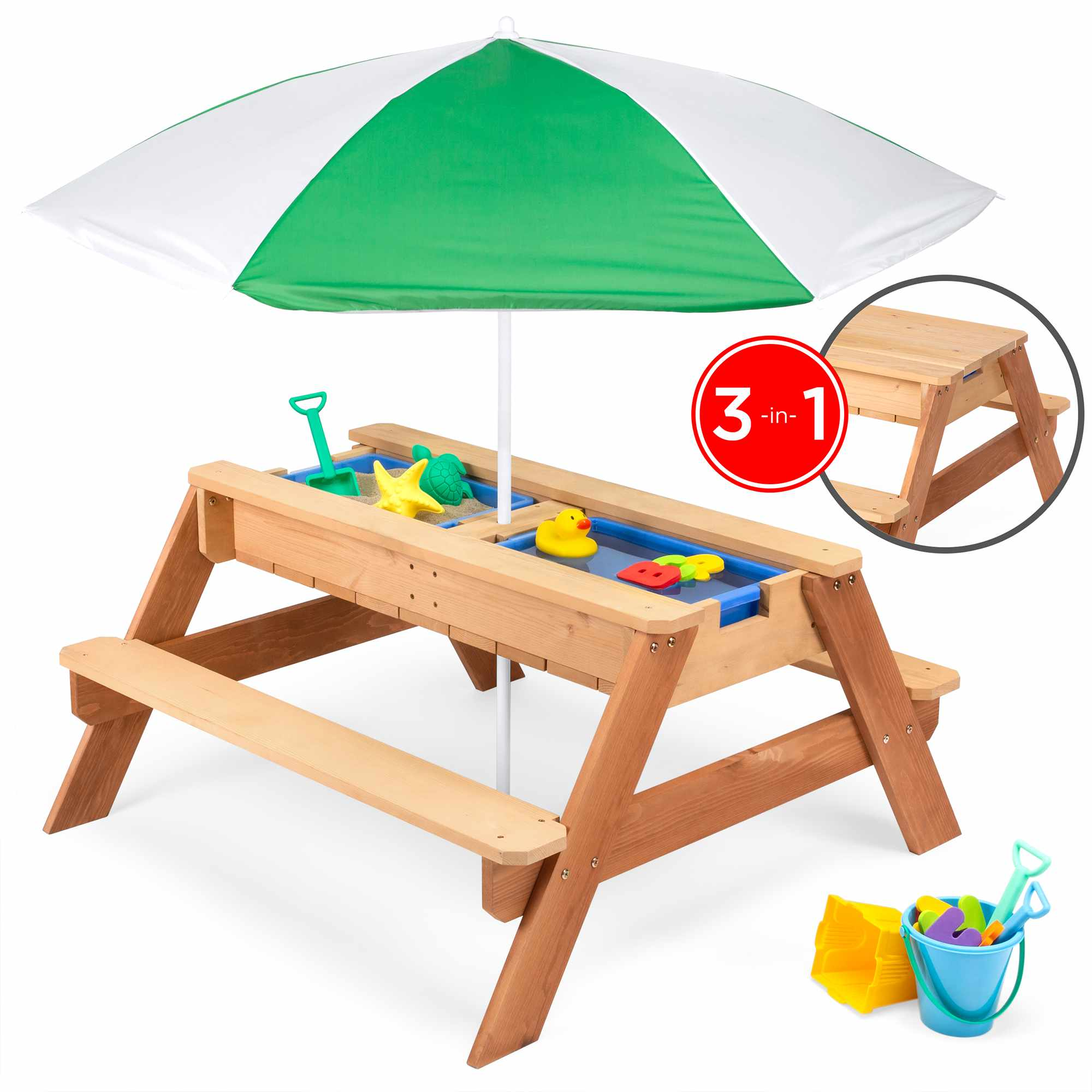 Best Choice Products Kids 3-in-1 Outdoor Convertible Wood Activity Sand & Water Picnic Table w/ Umbrella