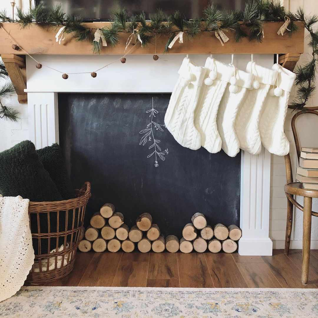Fireplace with wood