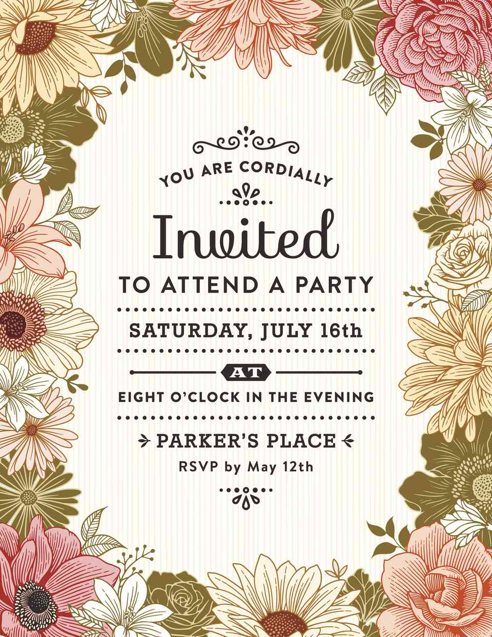 A sample party invitation