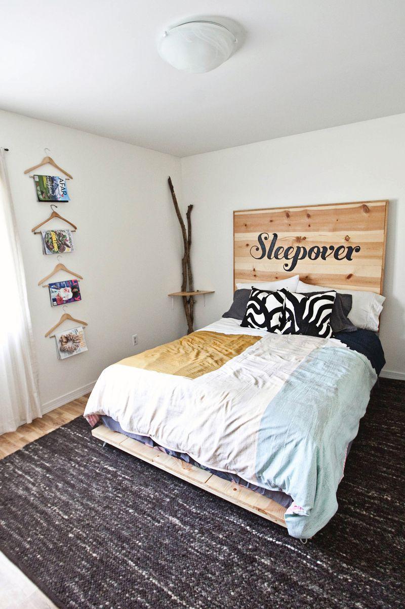 A DIY bed in a bedroom