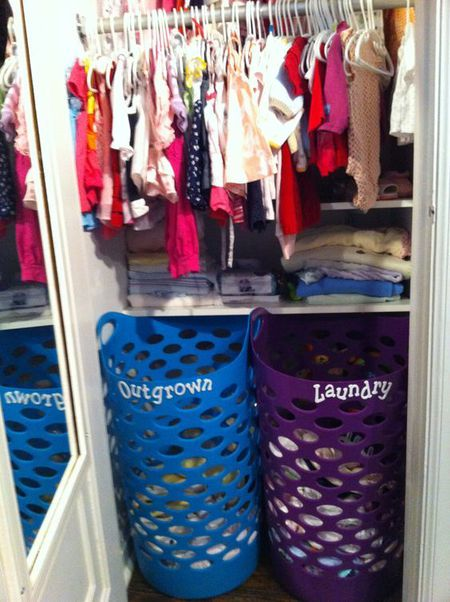 d2a0f3028c0 Nursery Closet Organization - Cast-off bin for outgrown baby clothes