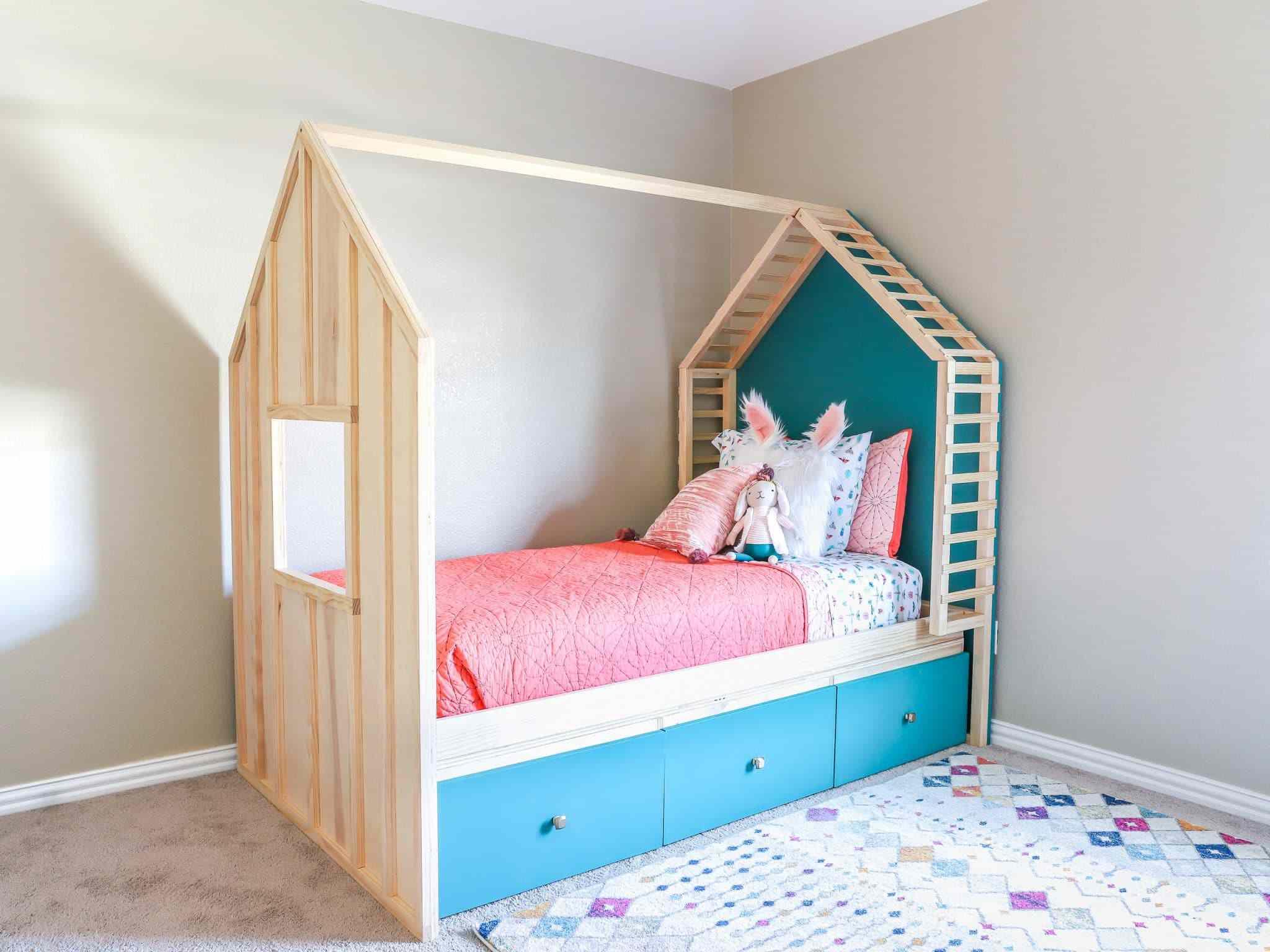 DIY kids bed with storage