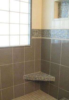 Calliope Truffle mosaic tile shower